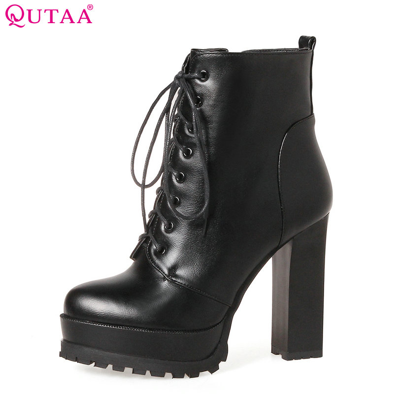 QUTAA 2020 Women Ankle Boots Square High Heel Lace Up Pointed Toe Women Platform Black Ladies Motorcycle Boots Size 34-43