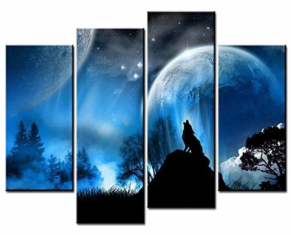 HOT Framed 4Pieces/set Wolf poster series Wall Art For Wall Decor Home Decoration Picture Paint on Canvas Prints Painting