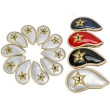 10 PCS Eisen Headcover Kopf Abdeckung mit Verschluss Starke Schwarz Goldene PU Leder Golf schutz abdeckung kostenloser versand