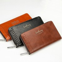 Men Genuine Leather Wallet Multifunctional Retro Purse Zipper Closure Money Bag Long Style More Card Slots