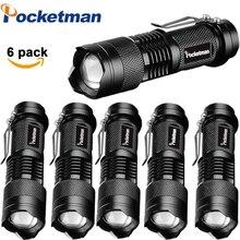 Leistungsstarke Taktische Taschenlampen Tragbare LED Camping Lampen 3 Modi Zoombare Taschenlampe Laternen Selbstverteidigung 6 teile/los z50