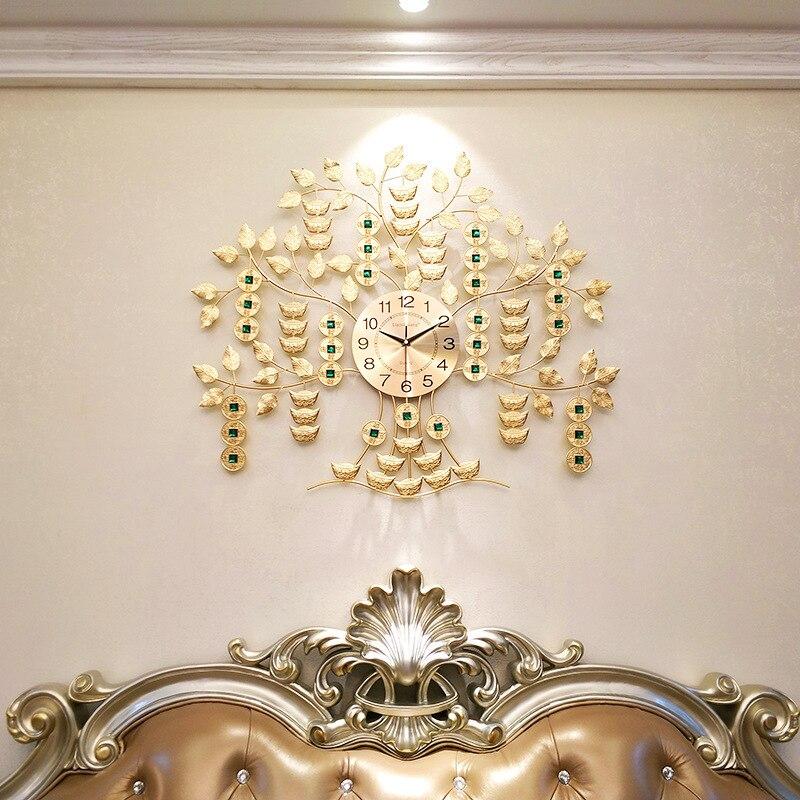Argent chanceux arbre mur fer horloges dessin animé grande horloge murale en métal décorations murales salon craquelé verre horloge idées cadeaux