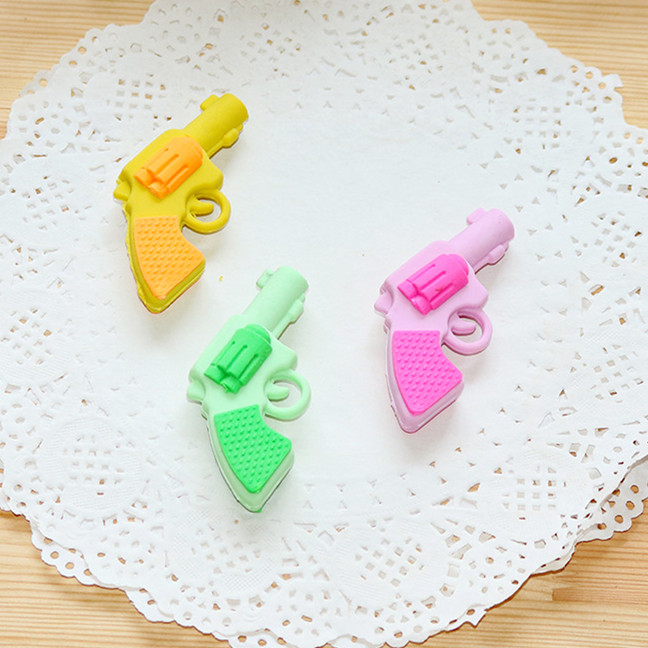 Novelty Pencil Eraser Colorful Pistol Modelling Cartoon Correction Erasers Kawaii Stationery School Office Supplies Kids Gifts