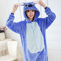 Stitch Adult Kid Costume For Couples Pajamas Blue Onesies Women's Fleece Nightgowns Pajamas Sets For Men Women Family Fitted