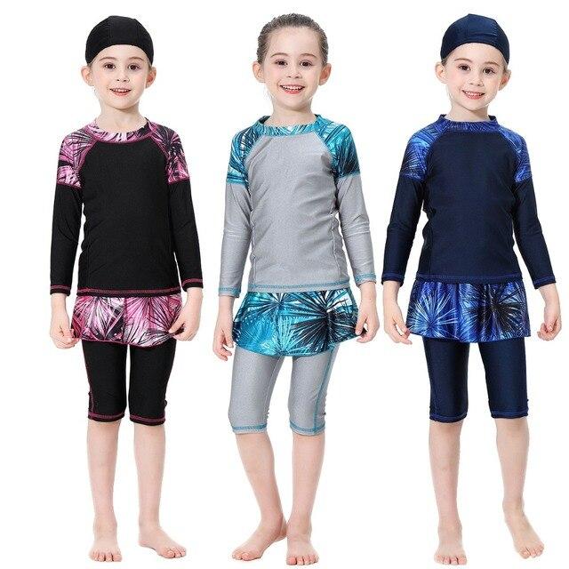 Милый исламский купальный костюм для девочек, купальник с длинными рукавами, детский купальный костюм с плиссированной юбкой, купальник с полубрюками, 2020