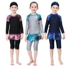2020 Cute islamic swimming suit for girls full sleeve swimwear kids skirted bathing suit half pants swimsuit