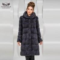 2018 New Coming Women Real Fur Coat With Fur Hood Long Warm Fashion Mink Fur Coats Luxury Autumn Winter Warm Real Fur Jacket
