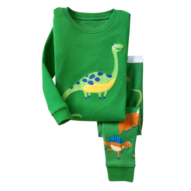 Kids Pajama Set Dinosaur Boys Sleepwear 2-7 Years Girls Pijamas Set Children's Pyjama T-shirt + Bukser Baby Girl / Boy Tøj Sæt