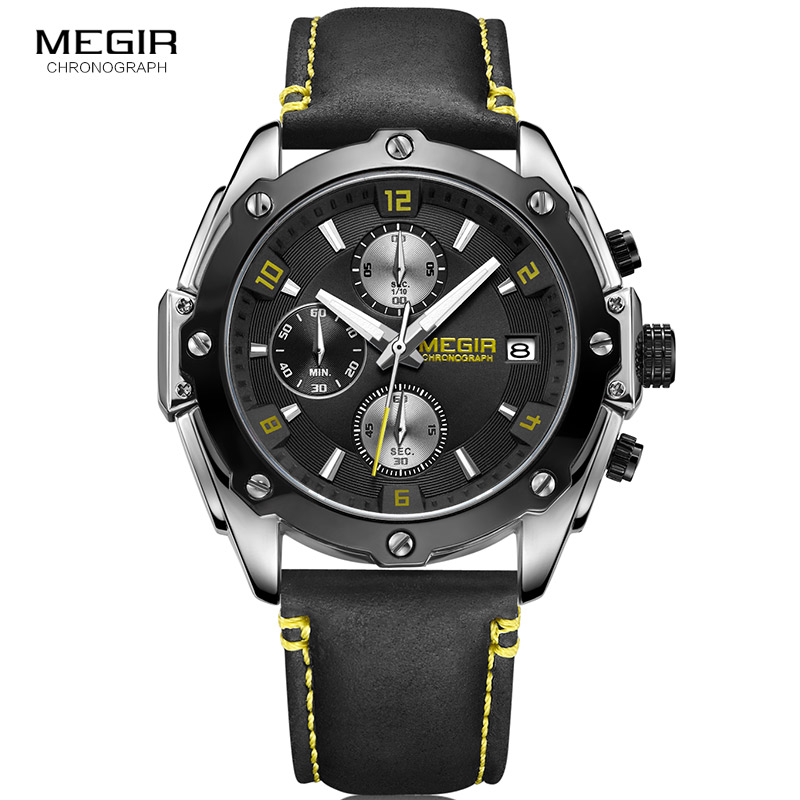 MEGIR Quartz Men Watch Sport Military Leather Watches Clock Men Chronograph Wristwatch Relogio Masculino Erkek Kol Saati ML2074 megir brand business watch fashion luxury leather men quartz watches military wristwatch clock erkek kol saati relogios 1046