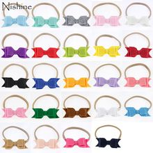 NISHINE New Nylon Headband Baby Girls Elastic Hairband Felt Hair Bows Infant Toddler Solid Kids Head Band Accessories