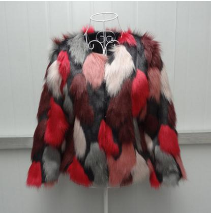 Xs/6Xl Womens Winter Autumn Imitation Mixed Color Fake Fur Jacket Large Size Elegant Female Man-Made Fur Outwears Coats J2369