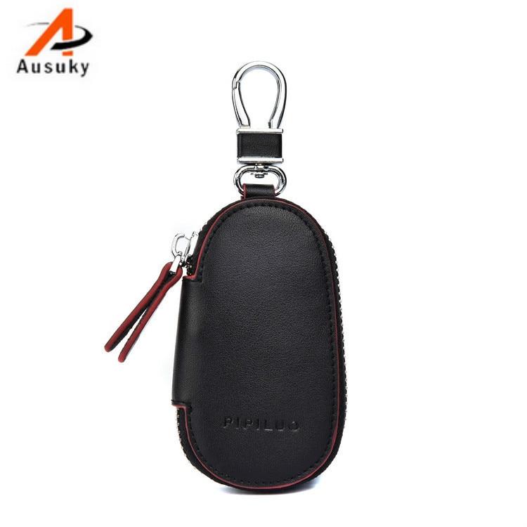 Leather Key Holder Men Key Organizer  Zipper Key Case Bag Pouch Purse Useful