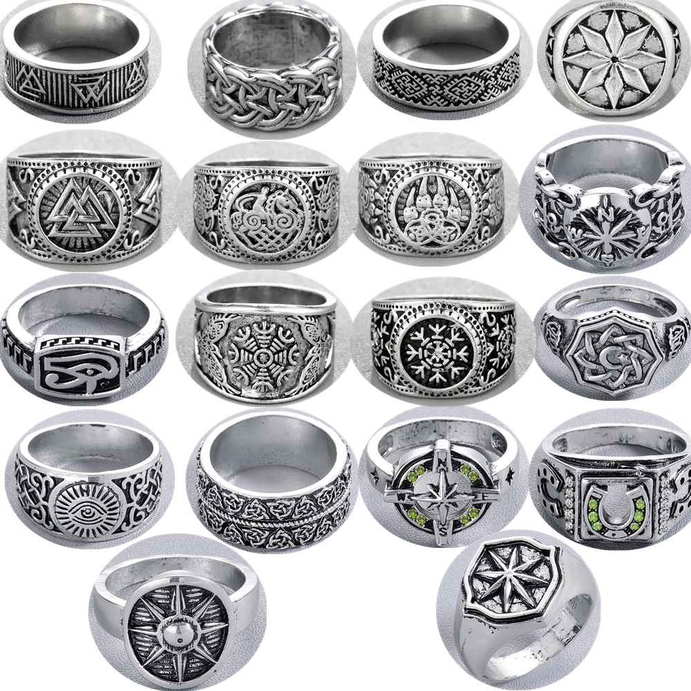 QIAMNI Compass Ring Swords Amulet Pagan Hiphop Party Slavic Vintage Viking Men Gift Handmade