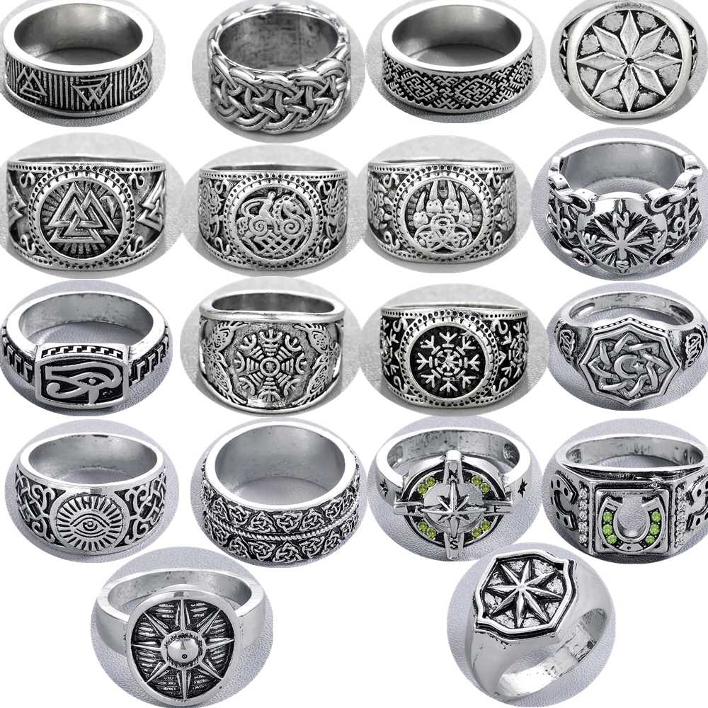 QIAMNI Handmade Vintage Viking Nordic Slavic Pagan Amulet Finger Ring Hiphop Party Swords Compass Ring Women Men Gift Bague Anel