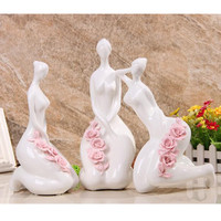 Western Beauty Girl Purely Manual Ceramics Statue Creative Craftwork Living Room Furnishing Articles G1237