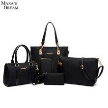 Mara's Dream 6 Set Bags Handbag + Shoulder Bag + Tote + Wallet + Key Bag Solid Color Zipper Patent PU Leather Bag Women 2017
