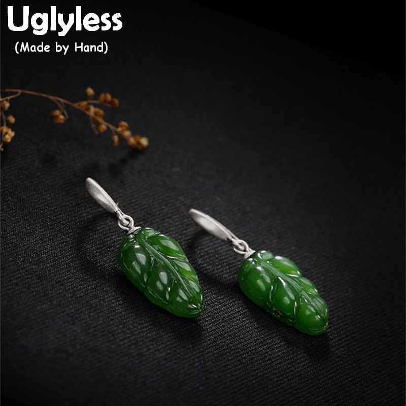 Uglyless S 925 Sterling Silver Natural Green Jade Leaves Earrings for Women Retro Jasper Bijoux Ethnic Brincos Handmade JewelryUglyless S 925 Sterling Silver Natural Green Jade Leaves Earrings for Women Retro Jasper Bijoux Ethnic Brincos Handmade Jewelry