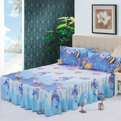 New Cartoon Bedding Set Fruit Bed Skirt with Pillowcases Flower Print Bed Sheets Bedspreads Mattress Cover Bedclothes 3pcs/set