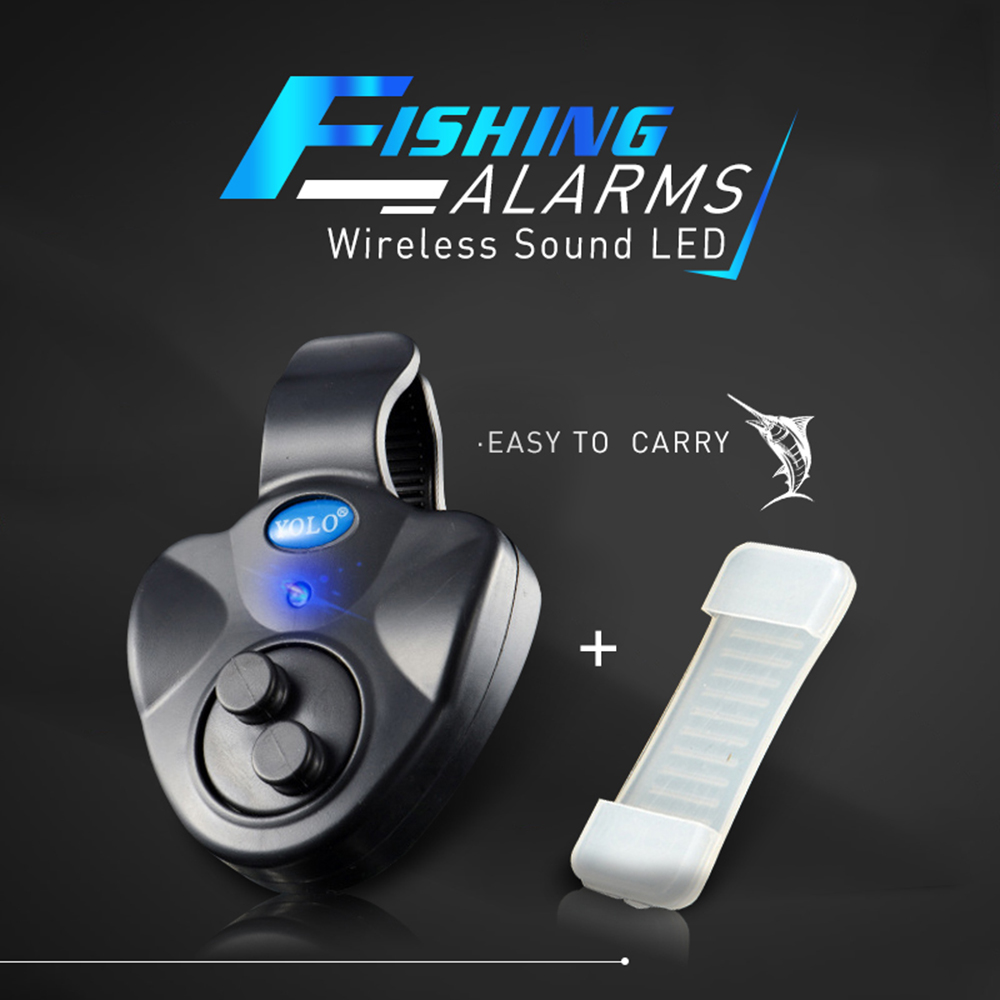 Electronic Wireless Fishing Bite Alarm Bell Sound Running LED Sensitive Fishing Accessories Finder Alarm For Winter Fishing