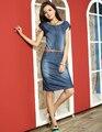 2015 новые летние джинсы платье женщины тонкий рукавов джинсовое платье vestidos femininos