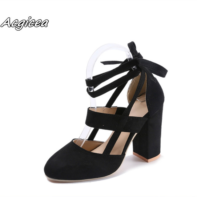 2019 summer new hot women fashion Square heel Round Toe High heel pumps female Sexy ladies shoes women pink size 34-43 f048