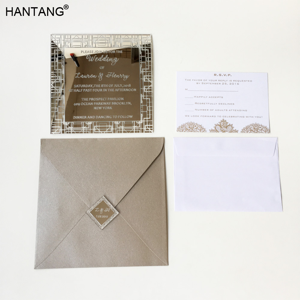 Customized 150x150mm Square Shape Silver Mirror Acrylic Wedding Invitation Card 100 Sets Per Lot 210 297mm customized table display card pmma acrylic material environmental t shape label frame for meeting business 170309 a7