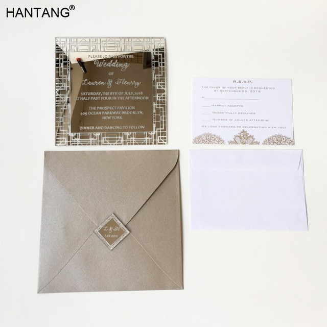 Customized 150x150mm Square Shape Silver Mirror Acrylic Wedding
