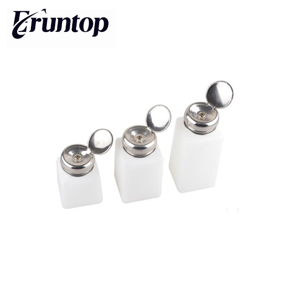 1 Pieces Stainless Steel Liquid Dispenser Pump ESD Safe Square Bottle Nail Polish Remover Alcohol Liquid Press Pumping Dispenser