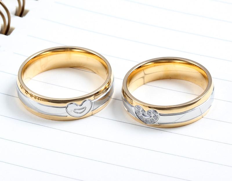 aliexpresscom buy vnox heart wedding rings for women men gold color stainless steel promise jewelry from reliable wedding rings for women suppliers on