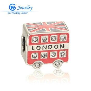 Amuleto de plata esterlina 925 con esmalte Uk London bandera Encantos se...