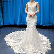 Branco deep v high end sem mangas sexy vestidos de casamento 2020 flores artesanais sereia vestidos de noiva 66582 feito sob encomenda