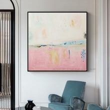 Большая известная картина маслом, современная Картина на холсте, винтажная ручная работа, картина маслом на холсте, розовая Настенная картина для гостиной