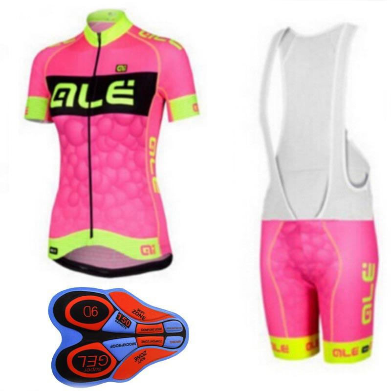 Cycling Bib Shorts Sets Womens Cycling Top and Bib Shorts Cycling Kit Cycling Suit Womens Clothing ALE Pink Bike Jersey