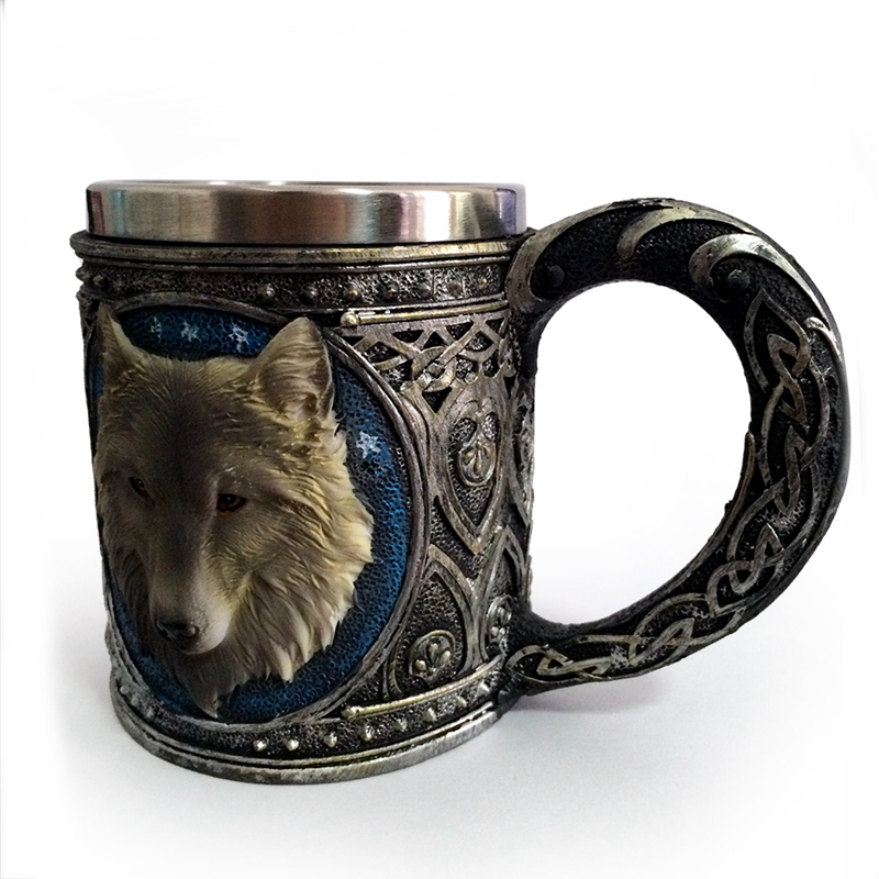 Horror 3D Realistic Wolf King Skull Mugs Double Wall Stainless Steel Animal Wolf Resin Mug Cup Geek Coffee Cup Christmas Gift 2