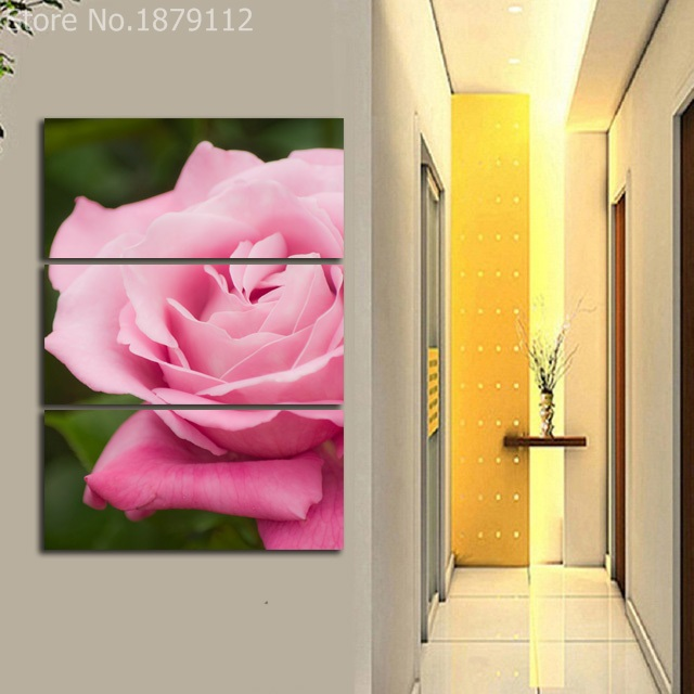 Pink Rose 3 Panels Unframed Canvas HD Printings Modern Painting ...