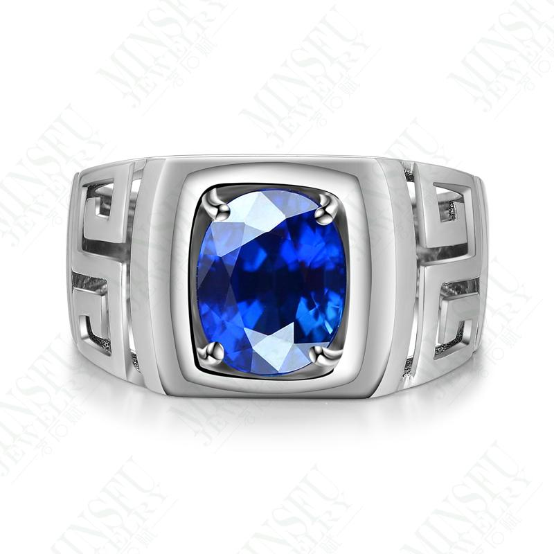 2ct 925 Sterling Silver Sapphire Rings Men
