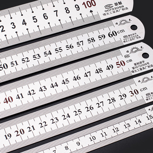 Stainless Metal Ruler Practical Metric And Inches Measurement Double Sided 2 Color Thick Precision Calibration Office