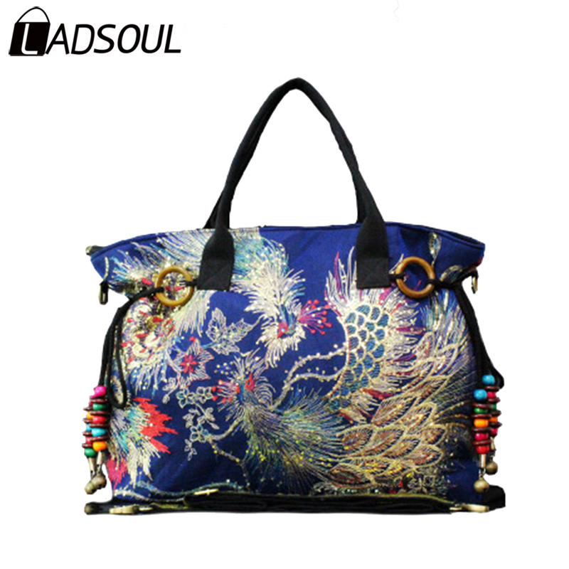 Ladsoul Handbag Chinese Style Canvas Women Handbags Embroidery Phoenix Colorful Female National Clutch Bags For A5961 H In Top Handle From