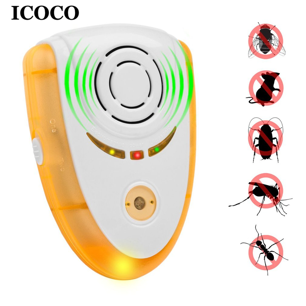 ICOCO Novelty Electric Ultrasonic Mouse Repeller Night Light Cockroach Trap Insect Mosquito Repellent Rats Spiders Pest Control