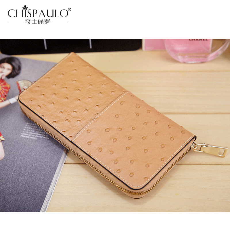 2e7f7e95e791 Genuine Leather Women Wallet Famous Brand Fashion Ostrich Skin Pattern  Clutch Bag Cow Leather Purse High Quality Standard Wallet-in Wallets from  Luggage ...