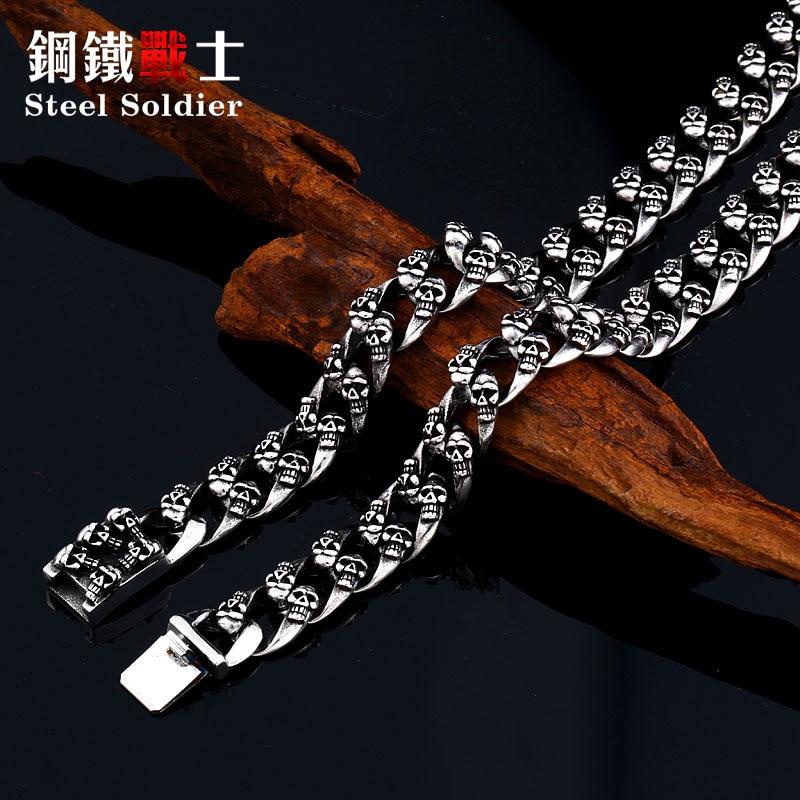 Acier soldat diable punk crâne en acier inoxydable collier hommes exquis populaire unique chaîne personnalité bijoux comme cadeau