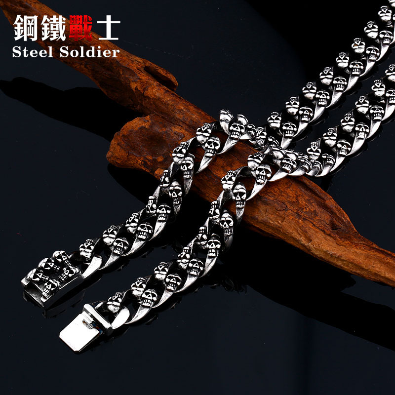 steel soldier devil punk skull stainless steel necklace men exquisite popular unique chain personality jewelry as gift
