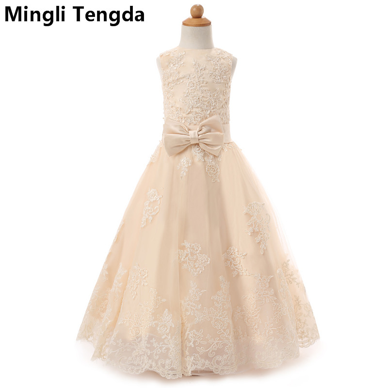Mingli Tengda Sukienka Komunijna   Flower     Girl     Dresses   for Weddings Teenager   Girl   Wedding Party Long Champagne   Flower     Girl     Dresses