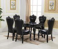 European style dining table and chair combination 6 people black solid wood carving rectangular table simple small family .