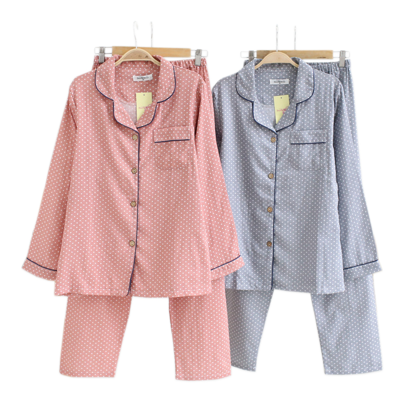 Simple Polka Dot Spring Pajamas Sets Women 100% Cotton Casual Sleepwear Long Sleeve Quality Pyjamas Women Homewear