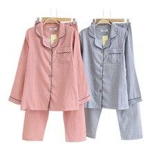 Proste Polka Dot piżamy ustawia kobiety 100% bawełna wiosna japoński Casual kobiety piżamy piżamy z długim rękawem