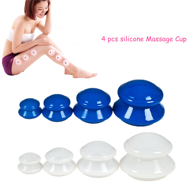 2017 4Pcs Moisture Absorber Anti Cellulite Vacuum Cupping Cup Silicone Family Facial Body Massage Therapy Cupping Cup Set 4 Size