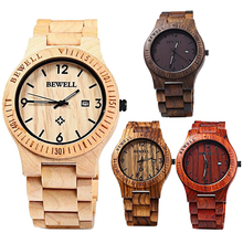 Men Luxury Natural Maple Wooden Handmade Quartz Movement Casual Wrist Watch