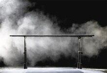 Laeacco Esporte Barras Paralelas Fumaça Branca Cena Retrato Fotografia Pano de Fundo Para Estúdio de Fotografia Fundo Fotográfico Personalizado
