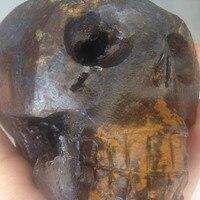 1390g Doğal Akik Taş Ametist Geode Küme Eksik Alien Cristal Kafatası Sanat Oyma çin'de
